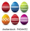 six color easter eggs over white background - stock vector