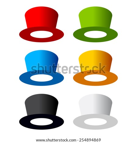 Six color hats - stock vector