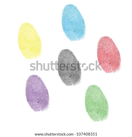 six color prints of forefingers on a white background.Vector - stock vector