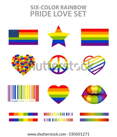 Six-color rainbow  LGBT symbols set: pride, freedom flags, hearts, peace, star and lips - stock vector