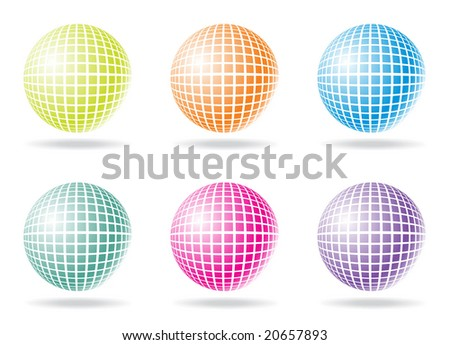 six color retro party background with disco ball, illustration