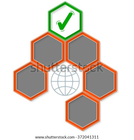 Six colored hexagons for your text and check box - stock vector