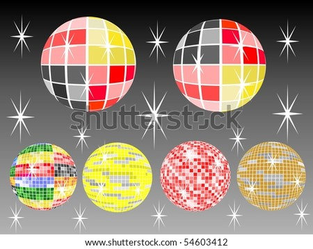six colored mirror balls with black background - stock vector