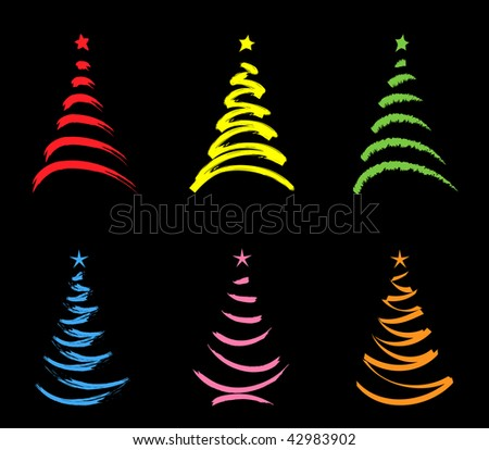 six colored  stylized  christmas trees isolated  on black background - stock vector
