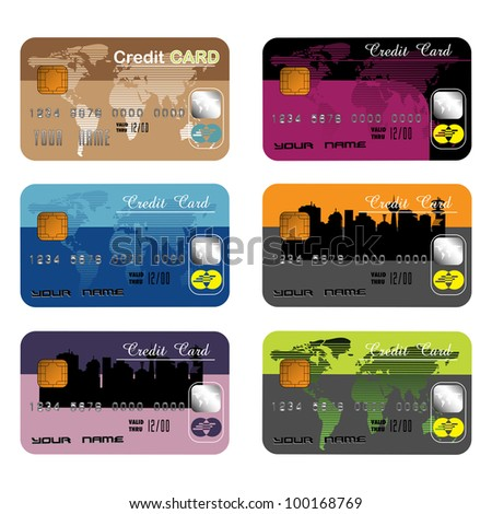 Six colorful credit cards isolated on a white background. Banking theme - stock vector