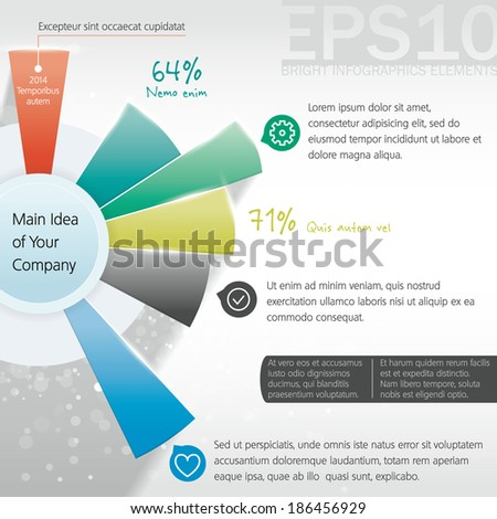 Six colorful different options and descriptions with icons around the main idea. Vector infographics element - stock vector
