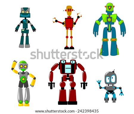 Six colorful funny cartoon robots, virtual agents with artificial intelligence, isolated on white - stock vector
