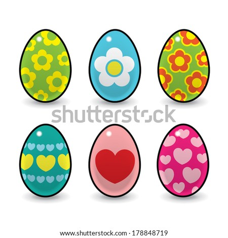 Six Colourful Easter Eggs Decorated with various Hearts and Flowers on White Background - Vector