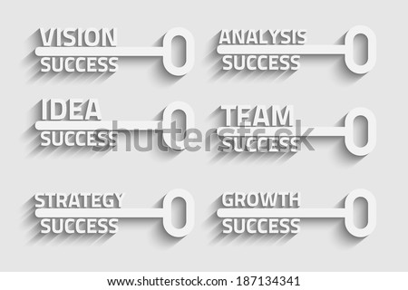 Six creative keys with business words, growth eps10 vector concept - stock vector