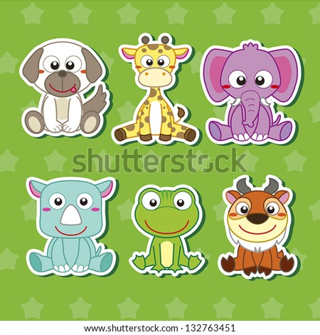 six cute cartoon animal stickers - stock vector