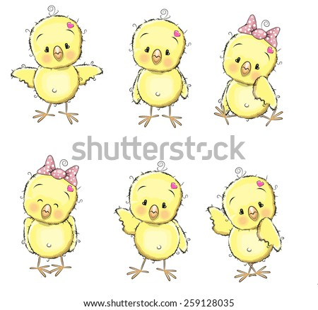 Six cute chicks isolated on a white background - stock vector