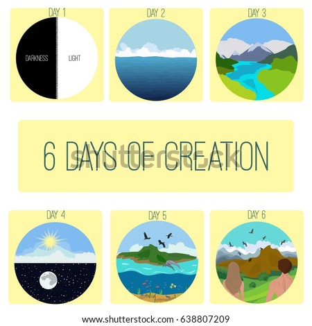 Six Days Of Creation Genesis Bible Story PicturesInfographics Vector Illustration