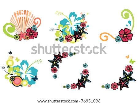 six design elements on summer theme with hibiscus, frangipani, starfish and seashell - stock vector