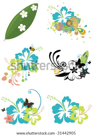 Six design elements with Hawaiian flowers on summer theme isolated on white - stock vector