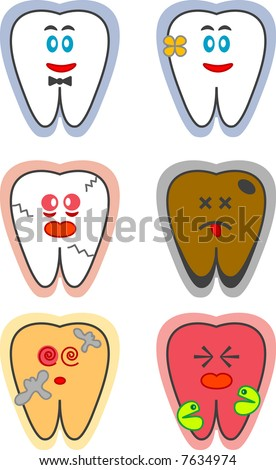 Six designs of a tooth. Two are happy and healthy. The rest are either cracked, stained, decayed, or in pain. - stock vector