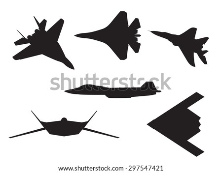 Six different aircraft silhouettes. - stock vector