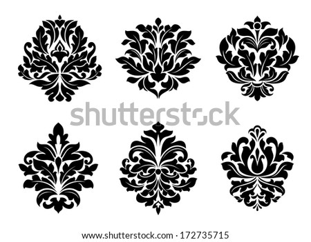 Six different black and white floral and foliate arabesque designs suitable for textiles like damask or as design elements