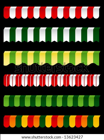 Six Different Colorful Awnings to add to your designs - stock vector