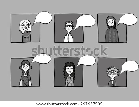 six different people icons dialog speech bubbles - stock vector