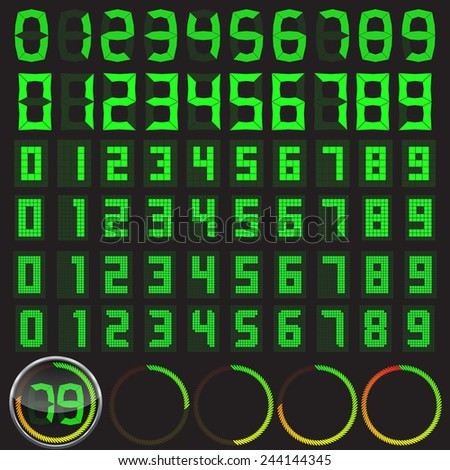six digital numbers set in different styles and basic clock body with circular level indicator. - stock vector