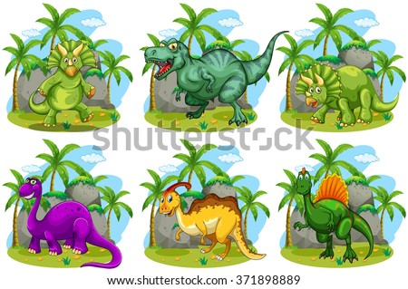 Six dinosaurs in the forest illustration - stock vector