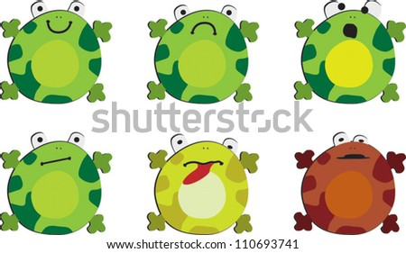 Six drawings of the frog on white background, showing different emotions - stock vector
