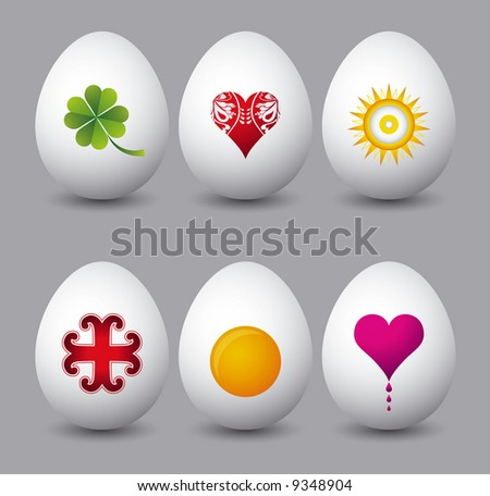 six easter eggs with different symbols over grey background - stock vector
