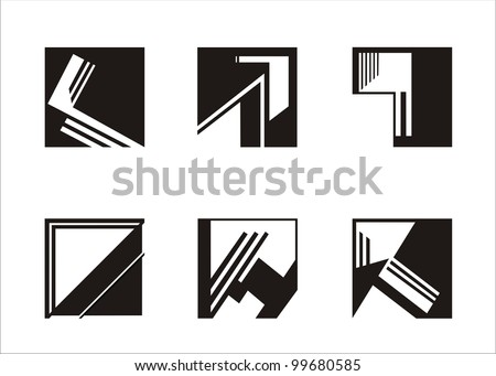 six elements built on a square, black and white - stock vector