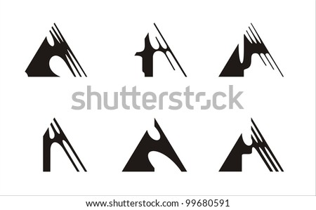 six elements constructed on the basis of the triangle, black and white - stock vector