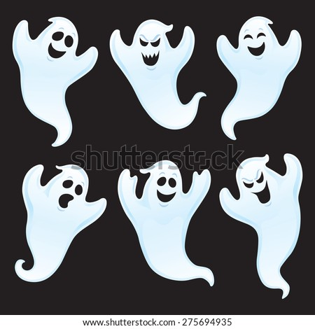 Six Ghost Characters with Assorted Expressions - stock vector