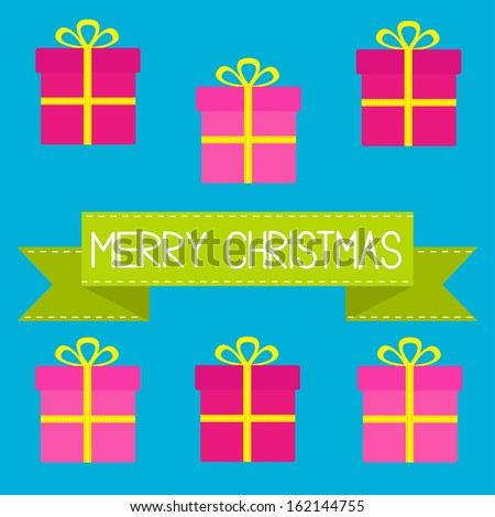 Six gift boxes with ribbons and bows. Merry Christmas card. Vector illustration.