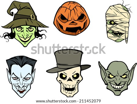 Six halloween heads - stock vector