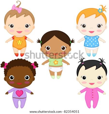 Six happy baby girls. Boys' set in my portfolio. - stock vector