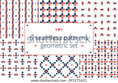 Six in one, geometric patterns set. Set of beautiful seamless geometric patterns in vector. Stylish colors and pretty figures for good design projects - stock vector