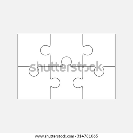 Six  jigsaw puzzle parts, blank vector 2x3 pieces isolated - stock vector