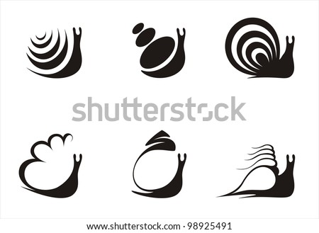 six logos constructed on the basis of a snail, black and white - stock vector