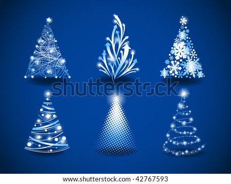 Six modern christmas trees on a blue background. - stock vector