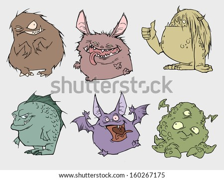 Six monsters - stock vector