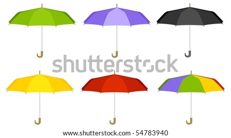Six multicolor umbrellas. Vector illustration, isolated on a white. - stock vector
