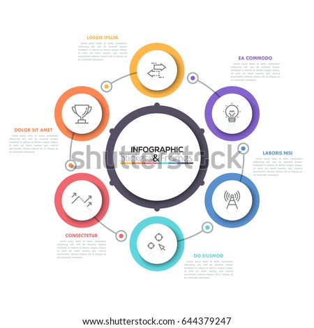 Diagram of cyclical auto electrical wiring diagram six multicolored round elements thin line stock vector hd royalty rh shutterstock com diagram of cyclical rock cycle diagram ccuart Gallery