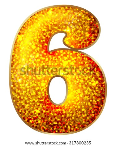 Six (6) number made of shiny material, isolated on white - stock vector