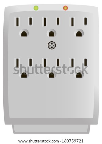 Six Outlet Wall-Mount Surge Protector. Vector illustration. - stock vector