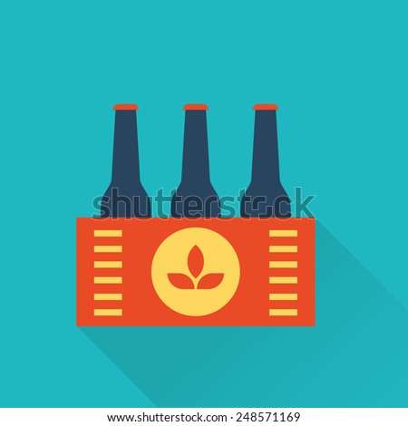 Six pack of Beer bottles in a box - stock vector