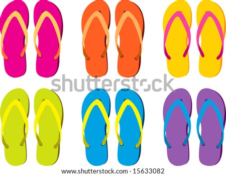 six pairs of colorful flip flops - stock vector