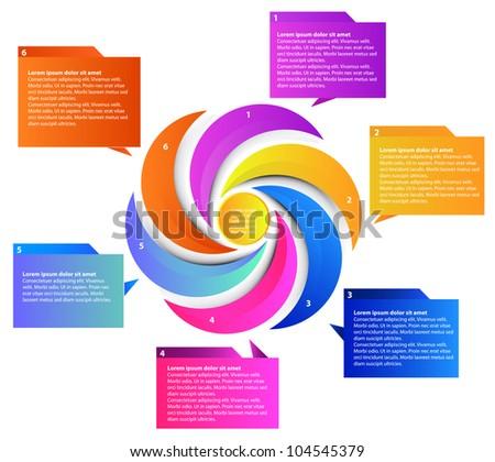 Six parts presentation, vector - stock vector