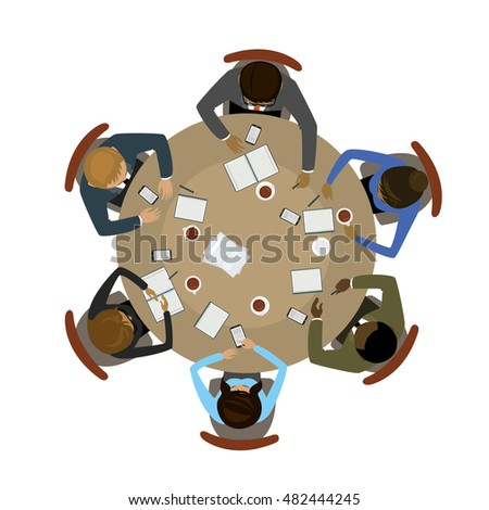six people different races sitting and working together at the round table. Teamwork, brainstorming, startup. Flat vector illustration