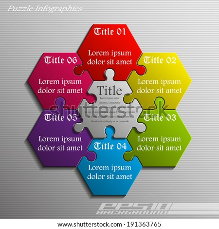 Six piece flat puzzle infographic presentation. 6 step circle business diagram. Six section compare service banner. Vector illustration template shape . 3d Abstract Background - stock vector
