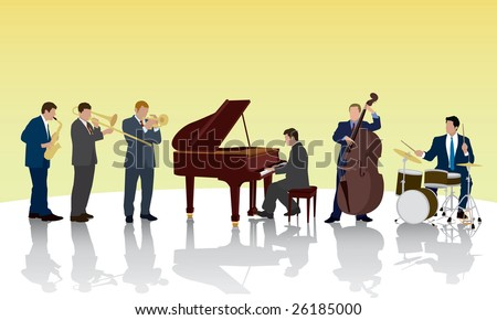 Six piece Jazz band performing on stage. - stock vector