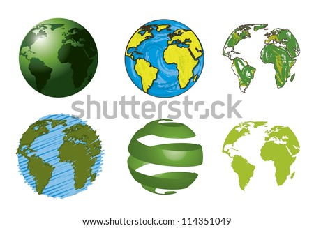 six planets isolated over white background. vector illustration