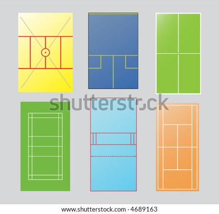 Six playfields of racquetsports. High angle view. Layer for each sport. Ricochet, squash, tabletennis, badminton, racquetball,tennis. - stock vector